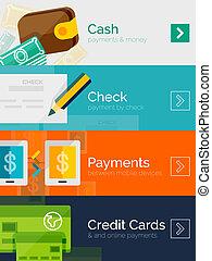 平ら, セット, オンラインで, デザイン, 概念, 支払い