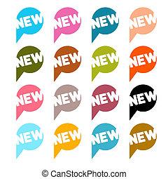平ら, セット, カラフルである, タイトル, ラベル, -, 隔離された, ベクトル, デザイン, 背景, 新しい, 白, ステッカー