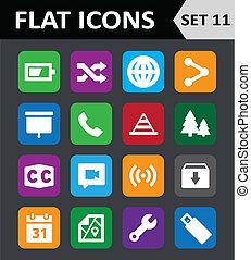平ら, セット, カラフルである, 普遍的, 11., icons.