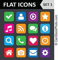 平ら, セット, カラフルである, 普遍的, icons., 1.