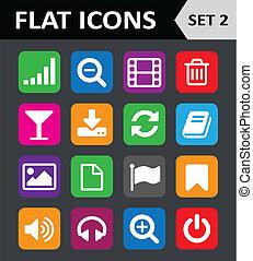 平ら, セット, カラフルである, 普遍的, icons., 2.