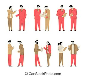 平ら, セット, カラフルである, 話し, 人々, 人々。, 現代, 特徴, 輪郭, ビジネス, conversation., 特徴, 漫画, カラフルである, style.