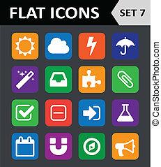 平ら, セット, カラフルである, 7., 普遍的, icons.