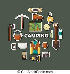 平ら, セット, キャンプ, アイコン