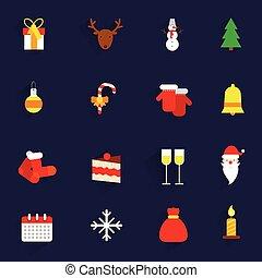 平ら, セット, クリスマス, アイコン