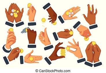 平ら, セット, コイン, ベクトル, 手を持つ, イラスト