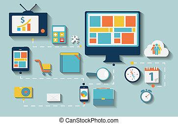 平ら, セット, コンピュータ, illustration., 網, モビール, 現代, 装置, 適用, 色,...