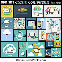 平ら, セット, コンピュータ, mega, イラスト, ベクトル, デザイン