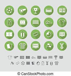 平ら, セット, サッカー, デザイン, アイコン