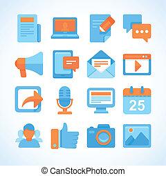 平ら, セット, シンボル, ベクトル, blogging, アイコン