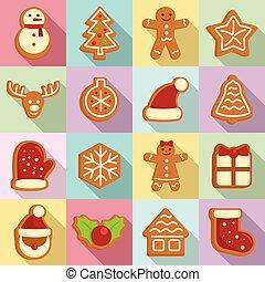 平ら, セット, スタイル, アイコン, gingerbread