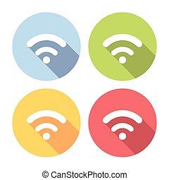 平ら, セット, ネットワーク, アイコン, 無料で, 無線