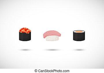 平ら, セット, ベクトル, 寿司, アイコン