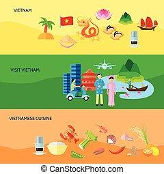 平ら, セット, ベトナム 文化, 水平なバナー