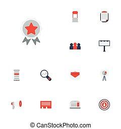平ら, セット, マーケティング, elements., アイコン, メッセージ, 聴衆, メガホン, 適用, 含む, シンボル, また, ベクトル, 広告, 手紙, objects., 他