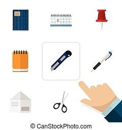 平ら, セット, メモ用紙, elements., pushpin, 封筒, 道具, 含む, また, ペン, ベクトル, 手紙, はさみ, objects., 他, アイコン