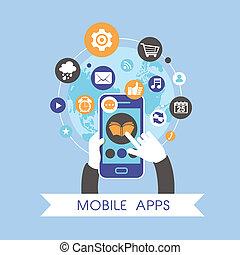 平ら, セット, モビール, apps, 概念, デザイン