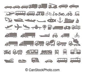 平ら, セット, 交通機関, アイコン, 車