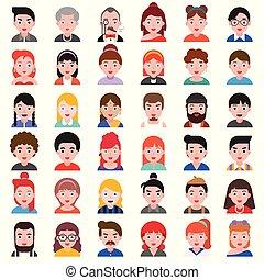 平ら, セット, 人々, デザイン, avatar, 2, アイコン