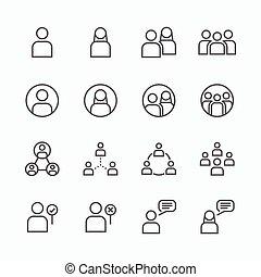 平ら, セット, 人々, concept., アイコン, ベクトル, 線, アイコン