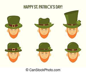 平ら, セット, 人々, st. 。, 現代, 特徴, patrick's, ベクトル, 緑の帽子, leprechaun, デザイン, アイコン, 日, 赤, ひげ