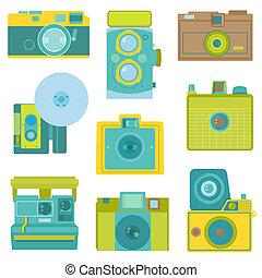 平ら, セット, 写真, cameras, -, ベクトル