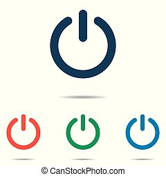 平ら, セット, 力, 単純である, ボタン, -, 隔離された, 背景, ベクトル, デザイン, 白, アイコン