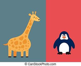 平ら, セット, 動物, 動物園, 野生, アイコン