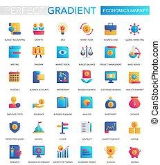 平ら, セット, 勾配, 経済学, icons., ベクトル, 最新流行である, 市場