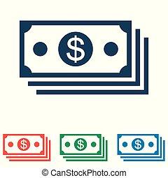 平ら, セット, 単純である, お金, -, 隔離された, 背景, ベクトル, デザイン, 白, アイコン