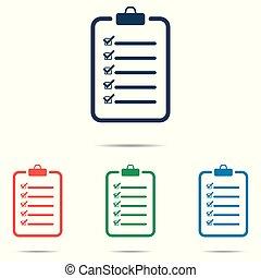 平ら, セット, 単純である, チェックリスト, -, 隔離された, 背景, ベクトル, デザイン, 白, アイコン