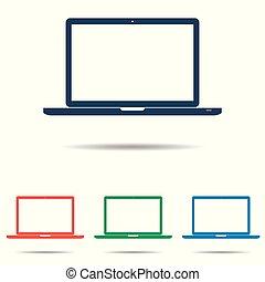平ら, セット, 単純である, ラップトップ, -, 隔離された, 背景, ベクトル, デザイン, 白, アイコン