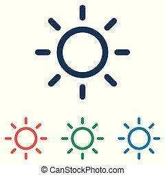平ら, セット, 単純である, 太陽, -, 隔離された, 背景, ベクトル, デザイン, 白, アイコン