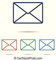 平ら, セット, 単純である, 封筒, -, 隔離された, 背景, ベクトル, デザイン, 白, アイコン