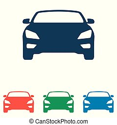 平ら, セット, 単純である, 自動車, -, 隔離された, 背景, ベクトル, デザイン, 白, アイコン