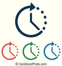 平ら, セット, 単純である, -, 隔離された, 背景, ベクトル, デザイン, 時間, 白, アイコン