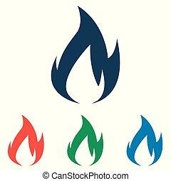 平ら, セット, 単純である, -, 隔離された, 背景, ベクトル, 炎, デザイン, 白, アイコン