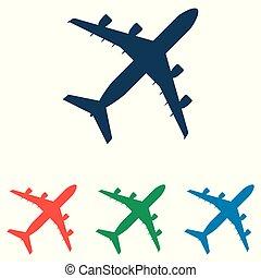 平ら, セット, 単純である, -, 隔離された, 飛行機, 背景, ベクトル, デザイン, 白, アイコン