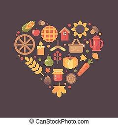平ら, セット, 取り決められた, カラフルである, アイコン, 形。, 心, 項目, 秋, 秋