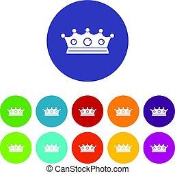 平ら, セット, 宝石類, アイコン, 王冠, ベクトル