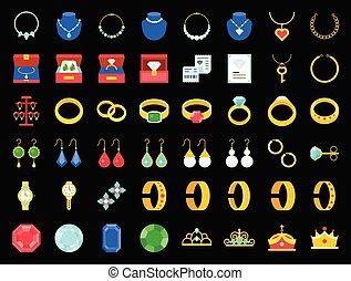 平ら, セット, 宝石類, 宝石用原石, ダイヤモンド, 関係した, アイコン