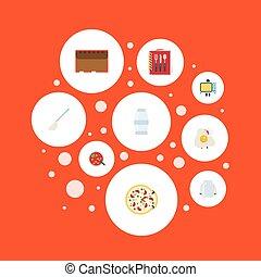 平ら, セット, 容器, 電気である, elements., ストーブ, 流体培養基, アイコン, スプーン, シンボル, スープ, pepperoni, ベクトル, 美食, また, objects., 含む, 電子レンジ, 他