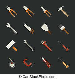 平ら, セット, 手, デザイン, 道具, アイコン