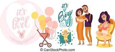 平ら, セット, 新生, ベクトル, シンボル, 赤ん坊