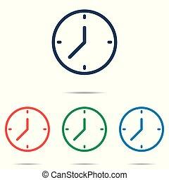 平ら, セット, 時計, 単純である, -, 隔離された, 背景, ベクトル, デザイン, 白, アイコン