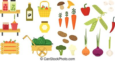 平ら, セット, 有機体である, tomatoes., 食物, 野菜, バスケット, ピクルスにされる, icons., apples., 混雑, 蜂蜜, ベクトル, キュウリ, オリーブ, 新たに, fruits., oil.