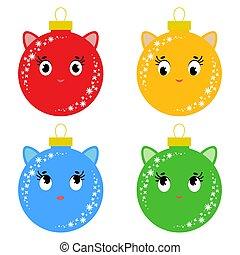 平ら, セット, 有色人種, 単純である, 隔離された, cats., 形, ボール, デザイン, 漫画, 背景, 白い クリスマス, balls.