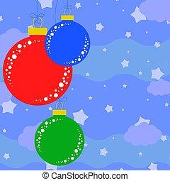 平ら, セット, 有色人種, 木, 隔離された, balls., クリスマス