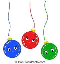 平ら, セット, 有色人種, 隔離された, 3, 下方に, ボール, 背景, 白, 落ちる, 漫画, クリスマス