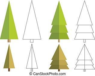 平ら, セット, 木, 隔離された, 変化, 着色, 4, 針葉樹, 本